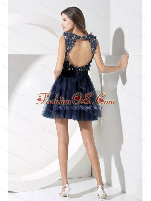Lace Decorate Bodice A-line Navy Blue Straps Mini-length Backless 2013 Prom Dress