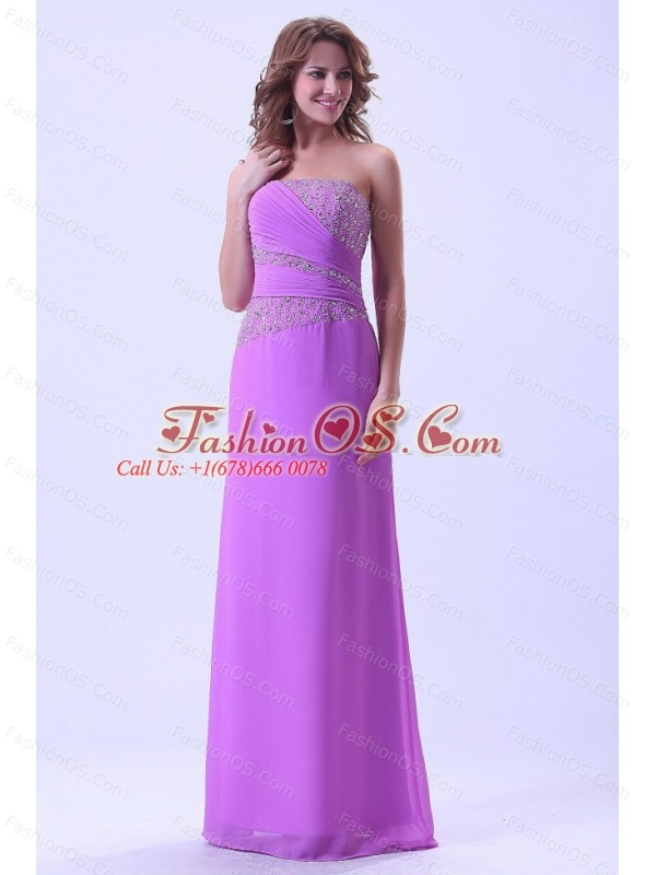 Lavender Prom Dress With Beaded Chiffon