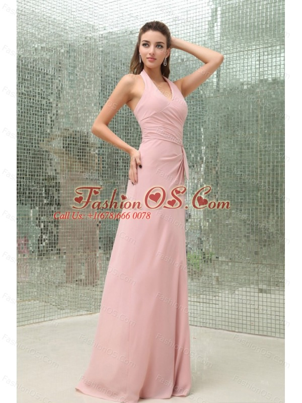 Light Pink Halter Prom Dress With Brush Train Chiffon