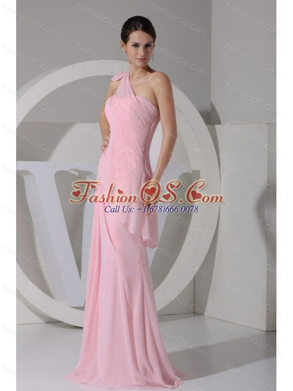 one shoulder pink chiffon floorlength 2013 prom dress