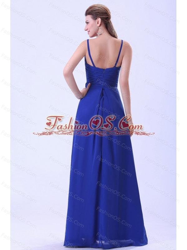 Royal Blue Prom / Evening Dress Spaghetti Straps Hand Made Flower Chiffon