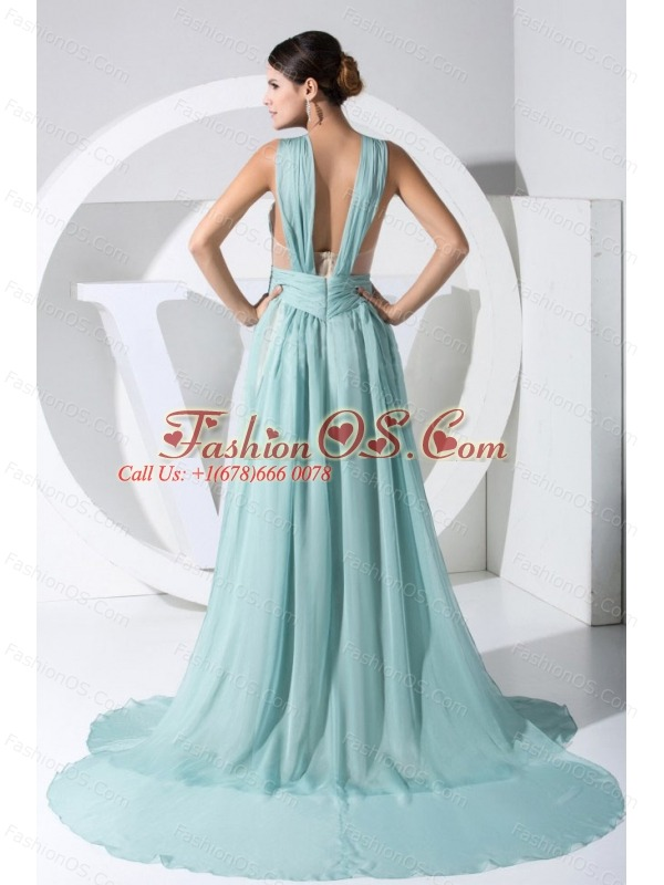 Ruch Decorate Bodice Straps Watteau Train Chiffon Light Blue 2013 Prom Dress