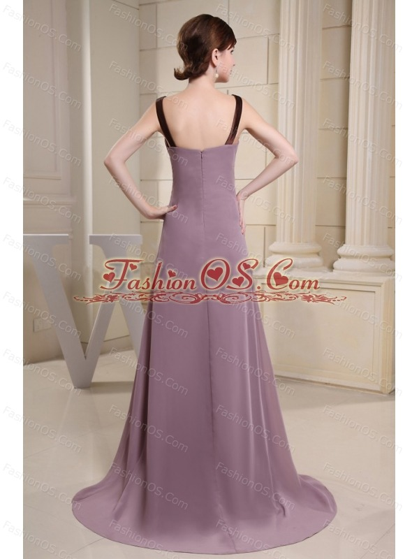 Scoop Mother Of The Bride Dress With Light Purple and Brush Train