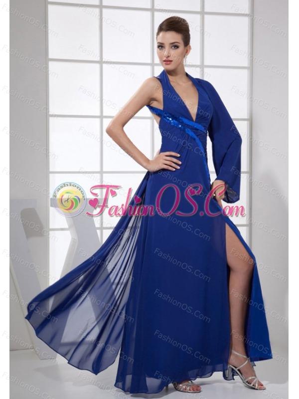 Sequins V-neck Ankle-length Blue Chiffon High Slit 2013 Prom Dress
