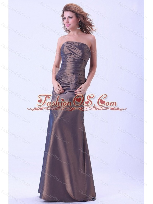 Simple Mother Of The Bride Dress Brown Strapless A-line Taffeta Floor-length