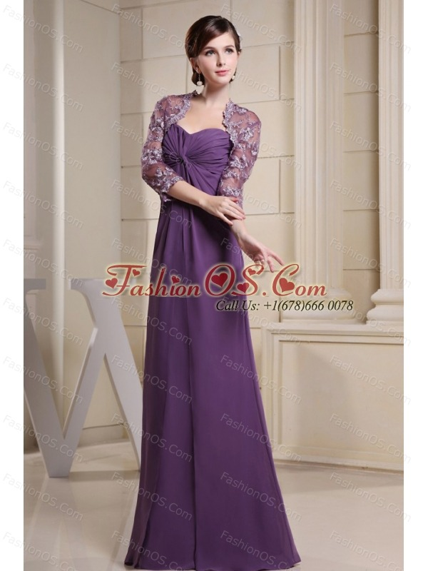 Simple Mother Of The Bride Dress With Ruch Purple Chiffon and Floor-length