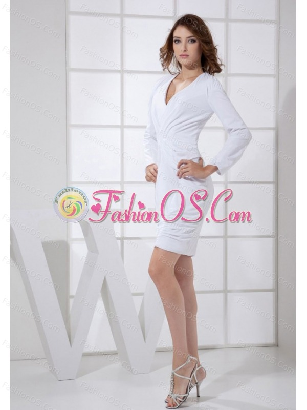 V-neck 3/4 Sleeves Column Mini-length 2013 Mother Of The Bride Dress
