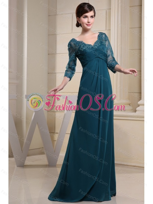 V-neck and 3/4 Sleeves For Mother Of The Bride Dress With Lace