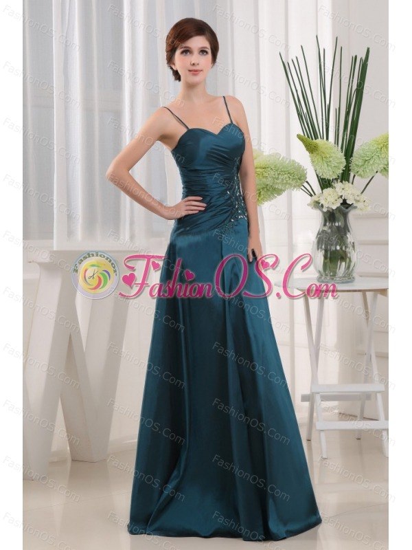 A-Line Floor-length Taffeta Appliques Teal Straps Mother Of The Bride Dress