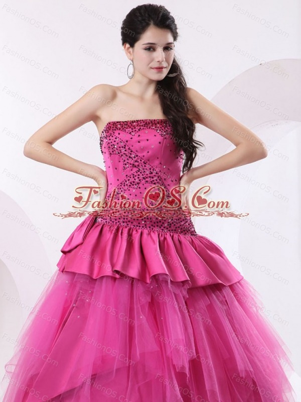 A-line Hot Pink Quinceanea Dress With Beading and Floor-length