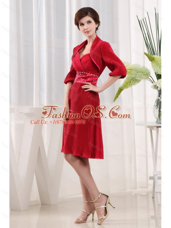 A-line Sweetheart Wine Red Mother Of The Bride Dress Chiffon Ruch