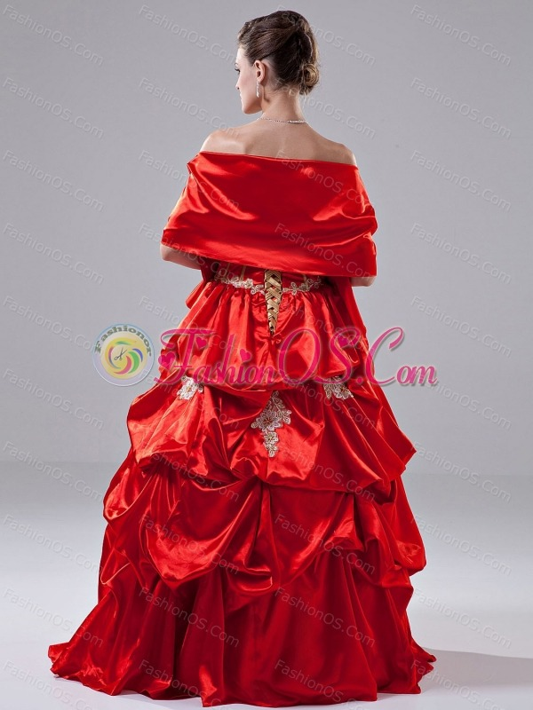 Appliques A-Line Taffeta Floor-length Strapless Quinceanea Dress Red