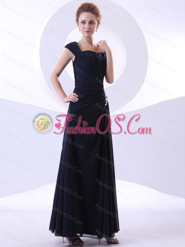 Appliques Decorate Bodice Ankle-length Straps Navy Blue 2013 Mother Of The Bride Dress