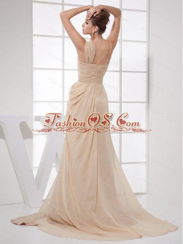 Asymmetrical Champagne Chiffon Brush Train Prom Dress 2013