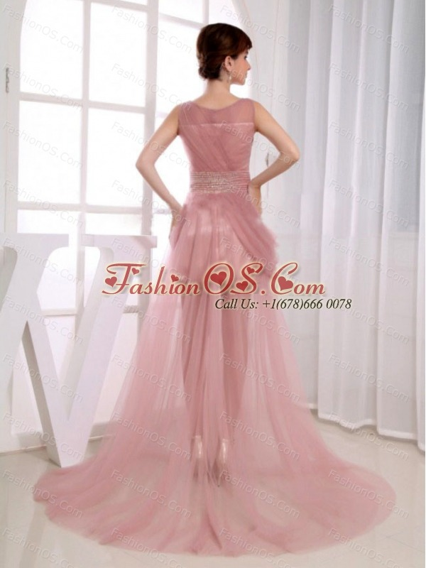 Beaded Decorate Waist Scoop Court Train Pink Tulle A-Line Prom Dress
