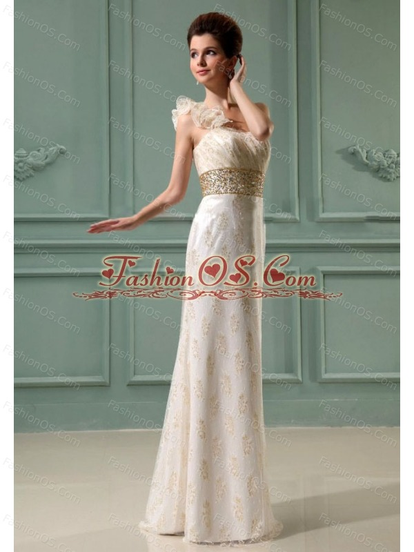 Beading Column Organza One Shoulder Floor-length Wedding Dress Champagne