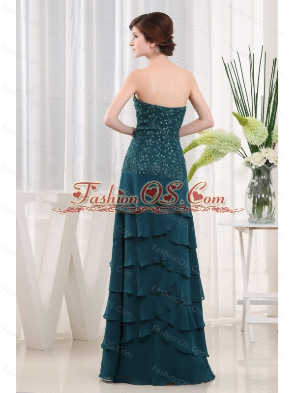 Beading Column Strapless Chiffon Floor-length Teal Mother Of The Bride Dress