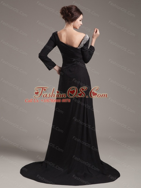 Beading Decorate Bodice High Slit Off The Shoulder Black Chiffon Brush Train Long Sleeves 2013 Mother of the Bride Dresses