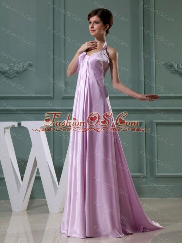 Beading Halter Empire Elastic Woven Satin Floor-length Prom Dress Lavender