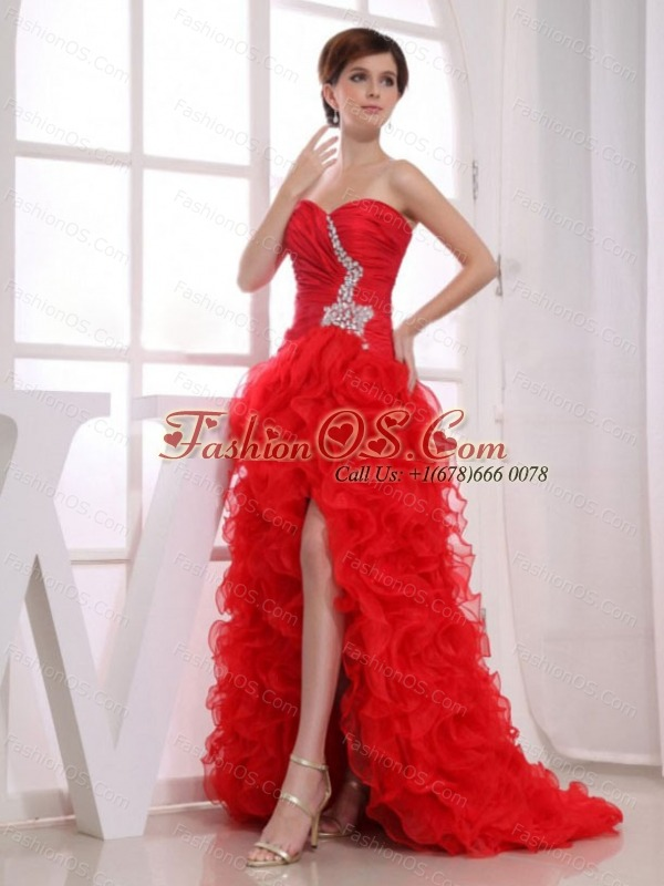 Beading Mermaid Sweetheart Prom Dress Organza High-low Red- $173.49