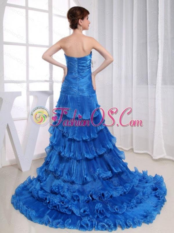 Beading Mermaid Sweetheart Prom Dress Organza High-low Royal Blue