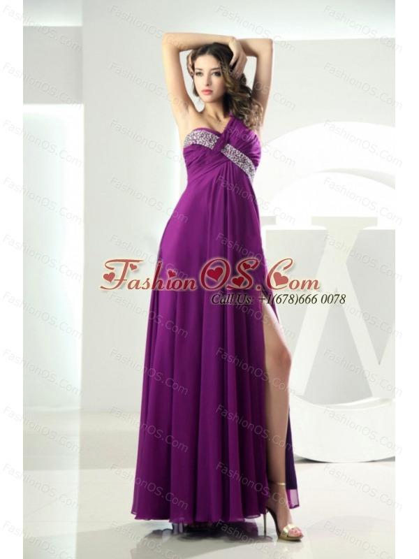 Beading Prom Dress Chiffon Fuchsia Empire Watteau One Shoulder High Slit
