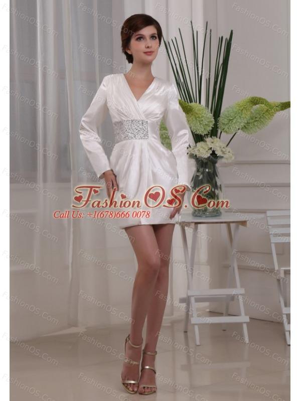 Beading Simple Column V-neck Elastic Woven Satin Mini-length Mother Of The Bride Dress White