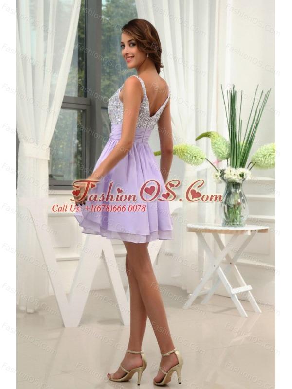Beading Straps Chiffon Mini-length A-Line Lilac Prom Dress