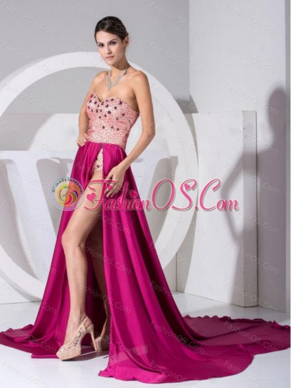 Beading Sweetheart Neckline High Slit Brush Train Prom Dress 2013