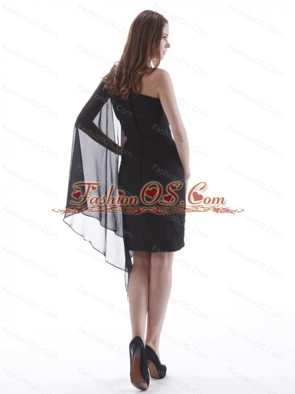 Black One Shoulder Prom / Cocktail Dress Knee-length