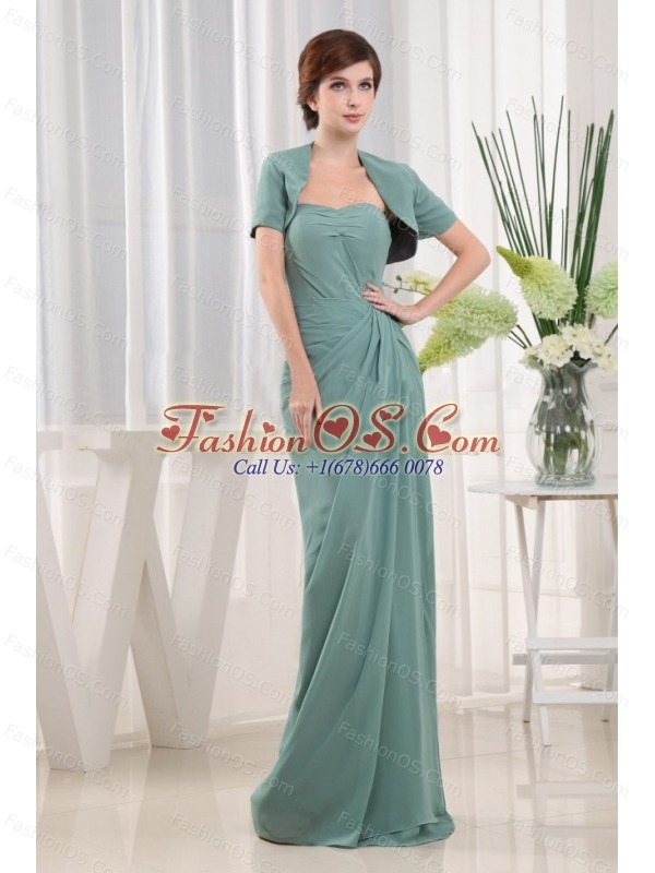Blue Column Sweetheart Chiffon Ruch Mother Of The Bride Dress