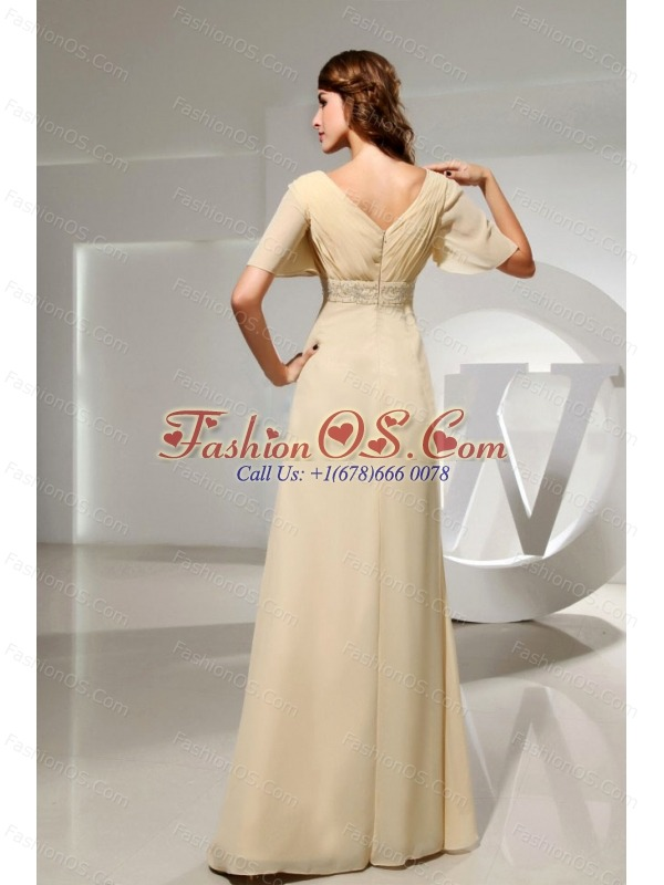 Champagne Mother Of The Bride Dress With Short Sleeves and Beading