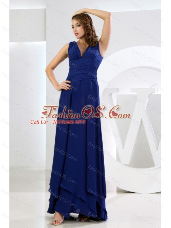 Column / Sheath V-neck Chiffon Royal Blue Ankle-length Bridesmaid Dress