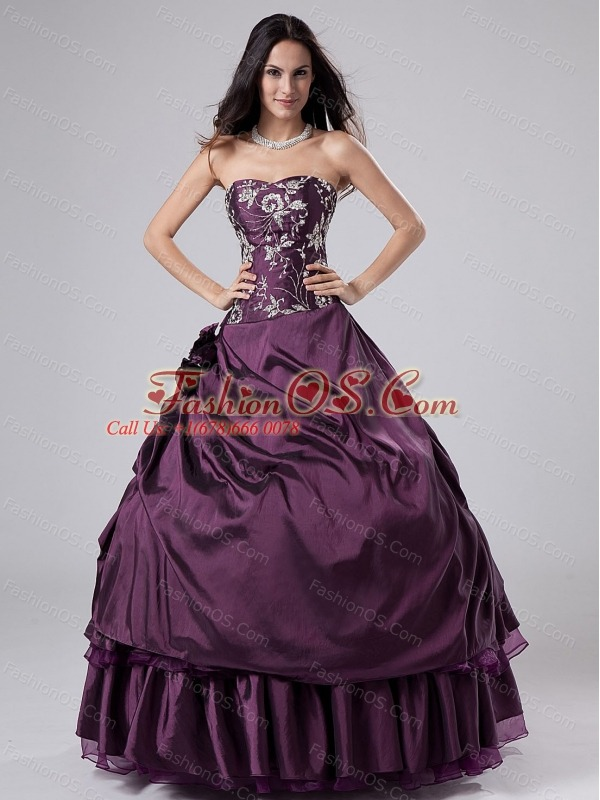 Embroidery Purple Strapless Ball Gown Taffeta Floor-length Quinceanera Dress