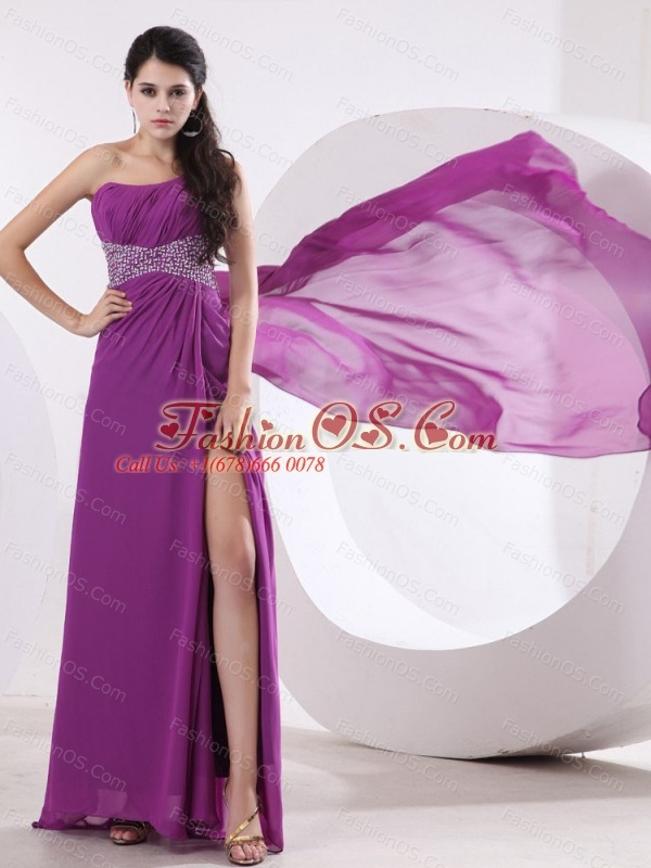 Fuchsia Prom / Evening Dress With One Shoulder Beaded and High Slit Watteau Train