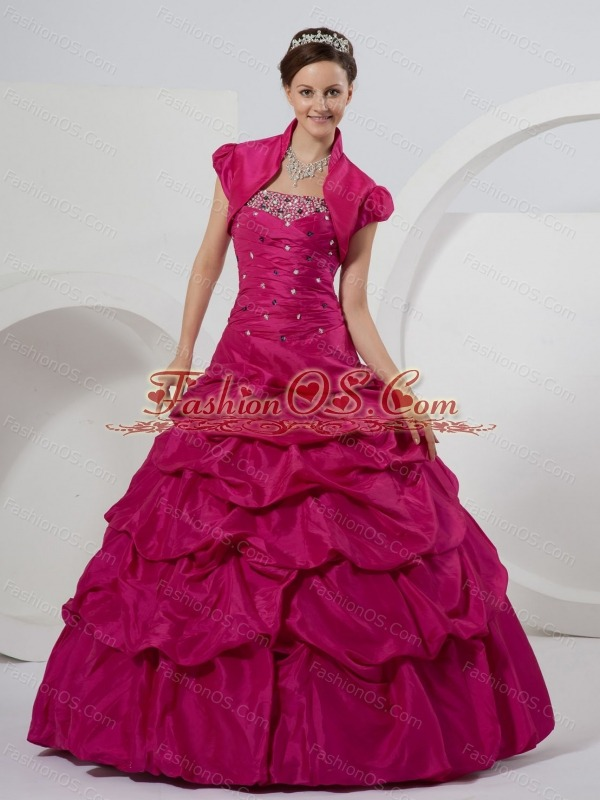 Fuchsia Quinceanera Dress With Beaded and Pick-ups Ball Gown For Custom Made