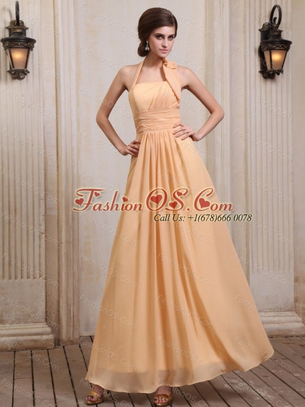Gold Bridesmaid Dress With Halter Chiffon Ankle-length
