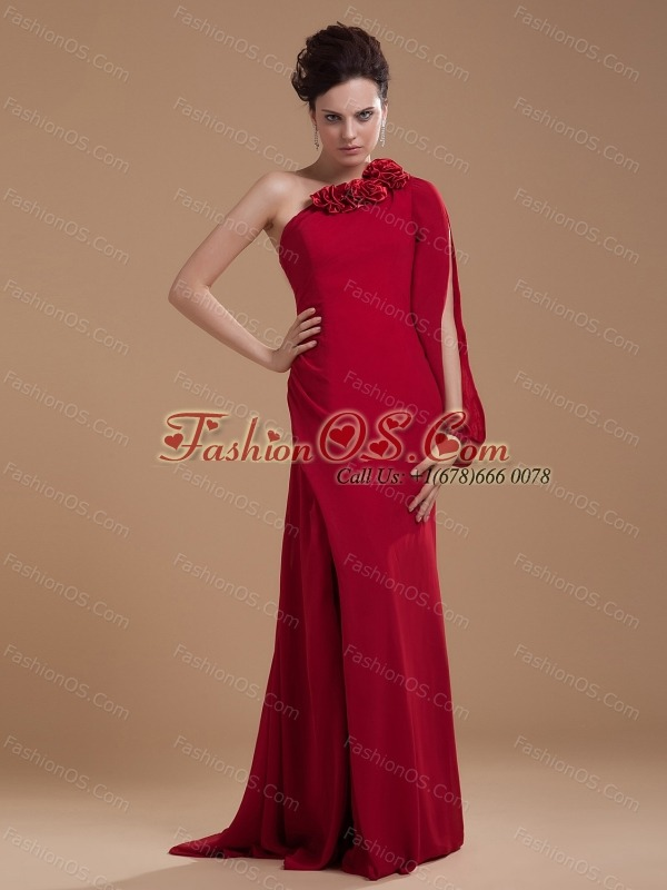 Hand Made Flowers Decorate Bodice Wine Red Chiffon Brush Train 2013 Mother Of The Bride Dress