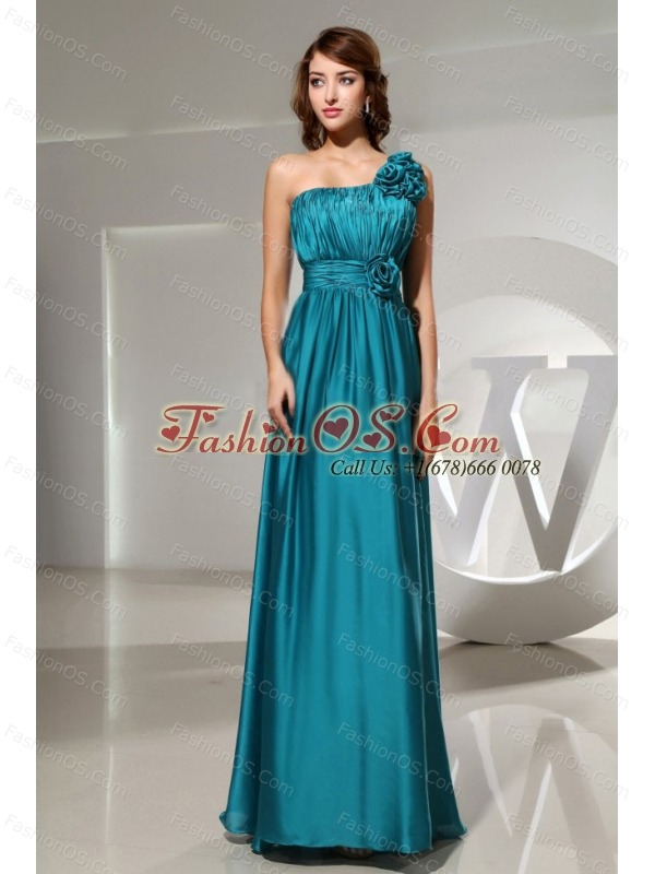 Handle-Made Flowers Elastic Woven Satin One Shoulder Empire Teal Floor-length Formal Prom Dress