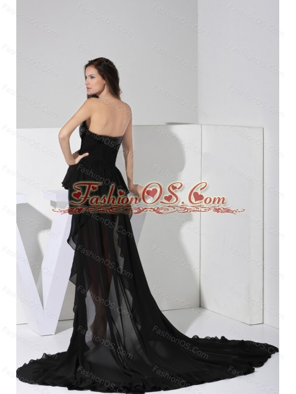 High-low Sequin and Chiffon Black Sweetheart Neckline 2013 Prom ...