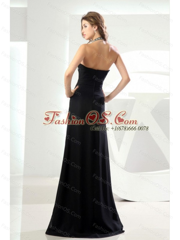 High Slit Beading Halter Column Prom Dress