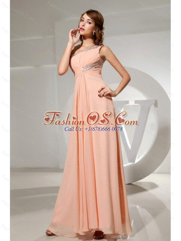 Beading One Shoulder Chiffon Floor-length Empire Prom Dress