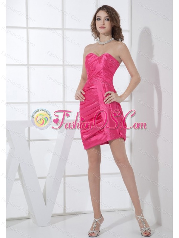 Hot Pink Sweetheart Neckline Mini-length Column Ruching 2013 Prom Dress