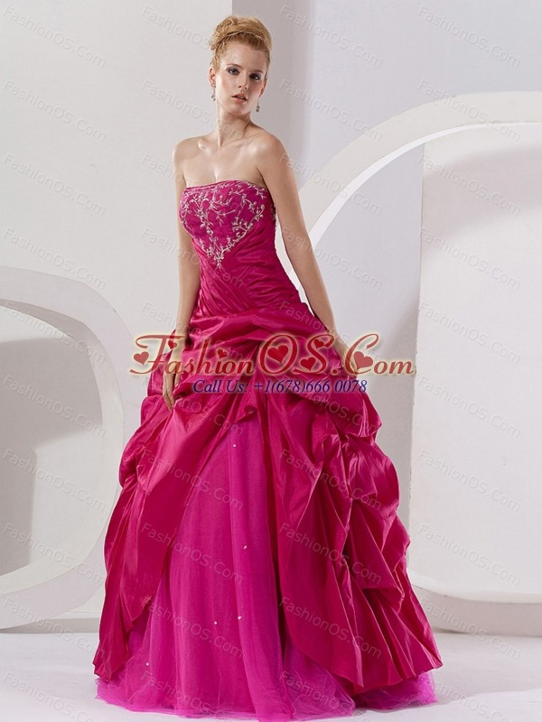 Hot Pink Taffeta Embroidery A-line Floor-length Strapless Quinceanera Dress