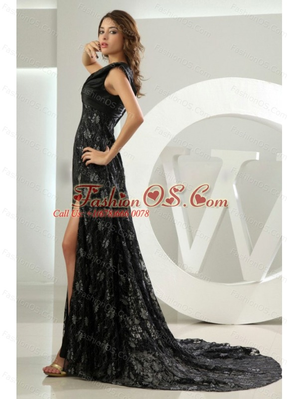 Lace Empire V-neck Brush Celebrity Prom Dress Black