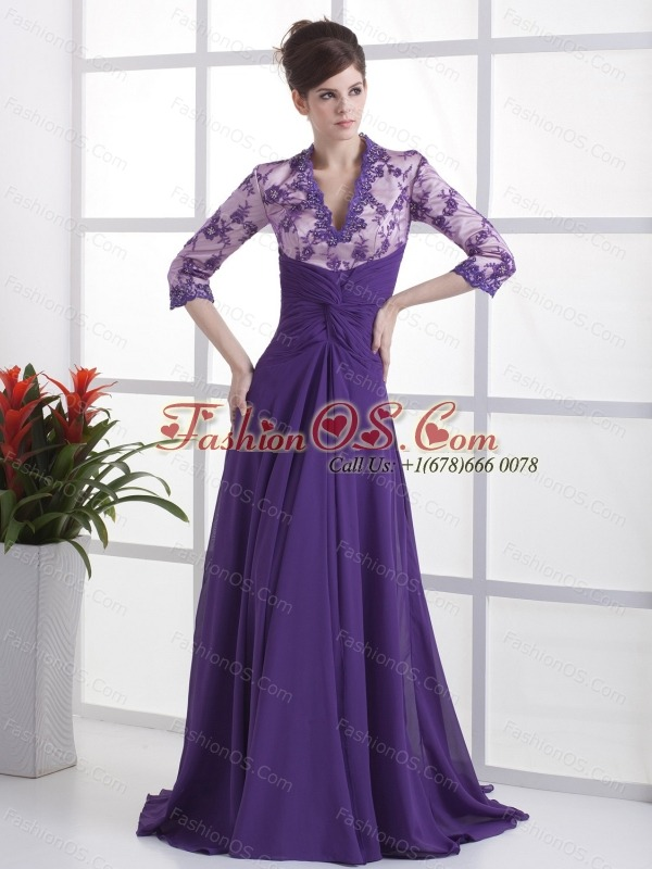 Lace With Beading Decorate Up Bodice V-neck 3/ 4 Sleeves Purple Brush Train 2013 Mother Of The Bride Dress