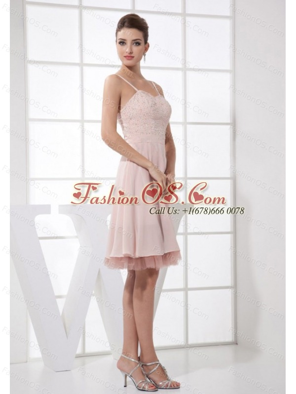 Light Pink Beading Decorate Bodice Straps knee-length 2013 Prom Dress