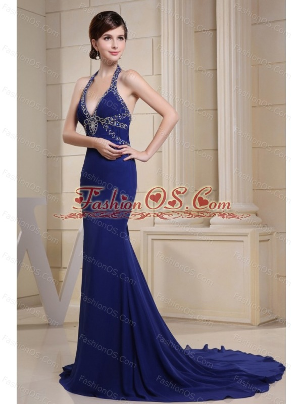 Mermaid Prom Dress With Halter Beading and Ruch For Custom Made