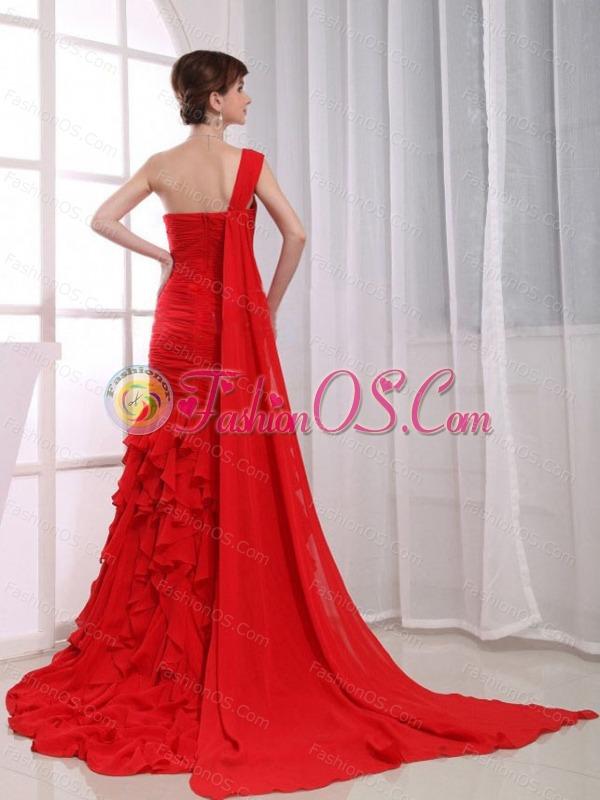 Red Mermaid Chiffon Dress