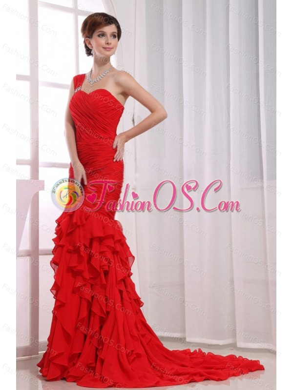 Mermaid Ruffles Chiffon Watteau Red One Shoulder Prom Dress- $183.68